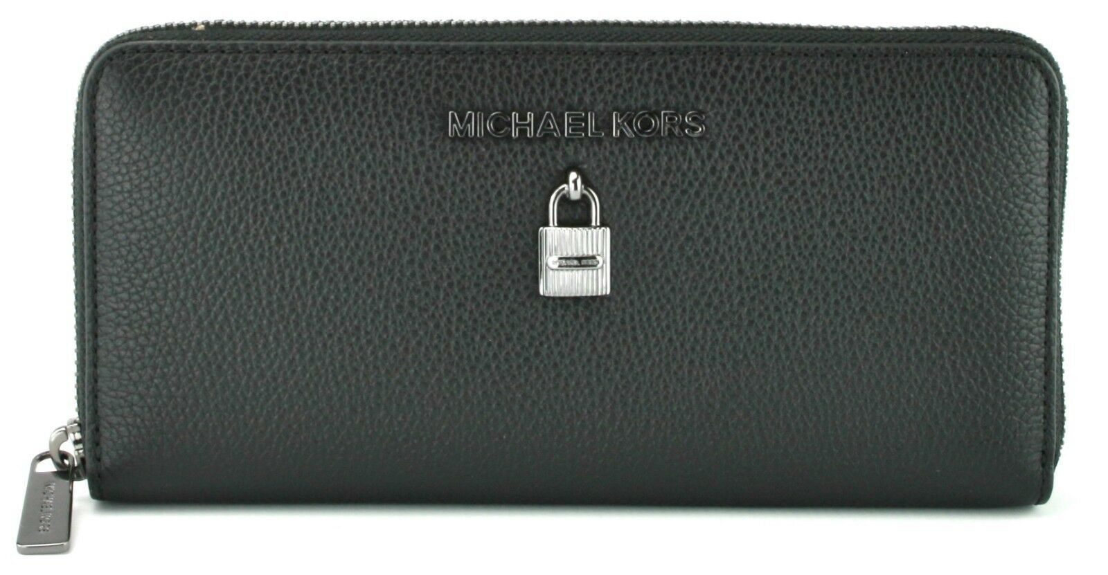 Primary image for Michael Kors Adele Purse Zip Around Wallet Black Pebbled Large Leather
