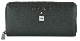 Michael Kors Adele Purse Zip Around Wallet Black Pebbled Large Leather - $211.51