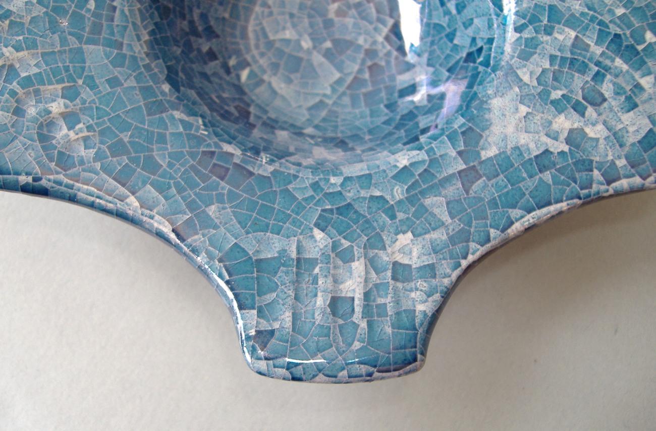 Blue Crackle Ceramic Fish Candle Holder Soap Dish Porcelain Handcrafted Decor