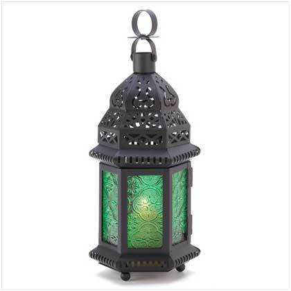 Moroccan  Green Glass Hanging Lantern  Free Standing Lamp Candle Holder