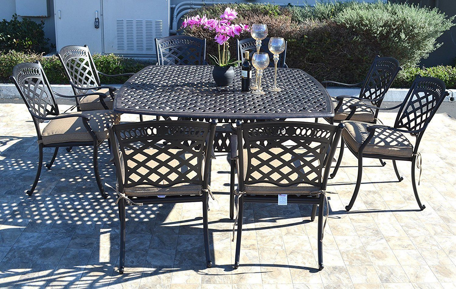 Cast aluminum patio dining set 9pc outdoor furniture square Nassau table 8 chair