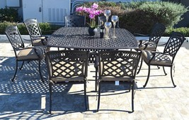 Cast aluminum patio dining set 9pc outdoor furniture square Nassau table 8 chair image 1
