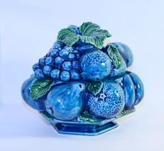 Vintage Inarco Japan Indigo Blue Fruit Design Footed Candy Bowl - $8.91