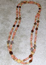 Vintage '80's Pink Bead Double Strand Necklace - $6.89