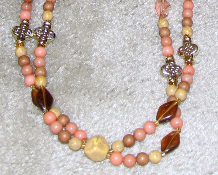 Vintage '80's Pink Bead Double Strand Necklace