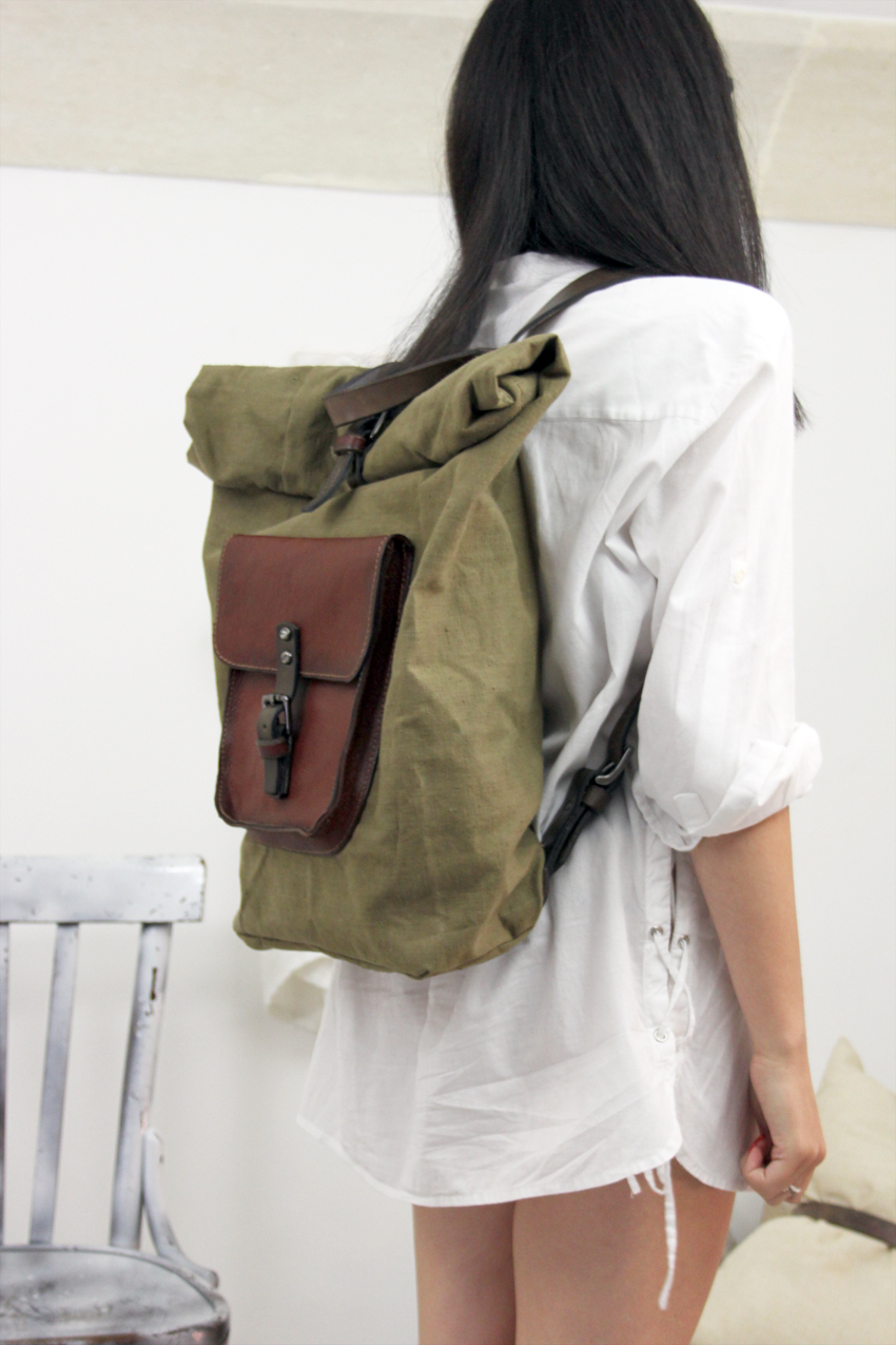 ROLL BACKPACK handmade leather & canvas backpack image 2