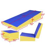 "70""x30""x14"" Folding Incline Gymnastics Mat Ramp Cheese Wedge Tumbling Ma... - $189.99"