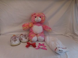 "Build A Bear Pink Bear Plush 15"" With White Hea... - $18.01"