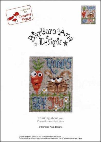 Thinking About You cross stitch chart Barbara Ana Designs