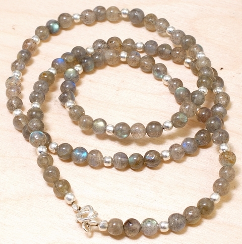 Primary image for Natural Labradorite Gems Beads 925 Silver Necklace