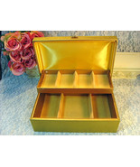 Vintage Buxton Gold Jewelry Box, 1960s 1970s Mid Century, Gold with Gold... - $34.99