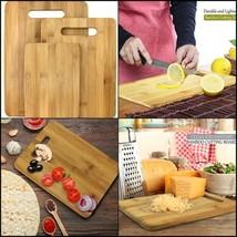 3 Pcs Set 100% Natural Bamboo Cutting Boards Totally Kitchen Wood Choppi... - £32.09 GBP