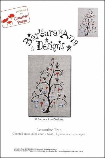 Lemurtine Tree cross stitch chart Barbara Ana Designs
