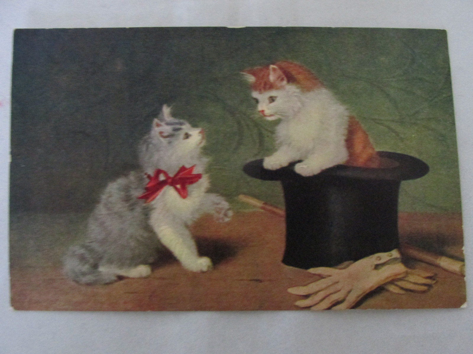 Primary image for Antique / Vintage Unposted Art Postcard - Kittens, Top Hat, Cane and Gloves