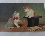 Antique / Vintage Unposted Art Postcard - Kittens, Top Hat, Cane and Gloves