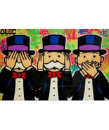 Alec Monopoly Oil Painting on Canvas Graffiti art Three Monkeys tribute ... - $14.35+