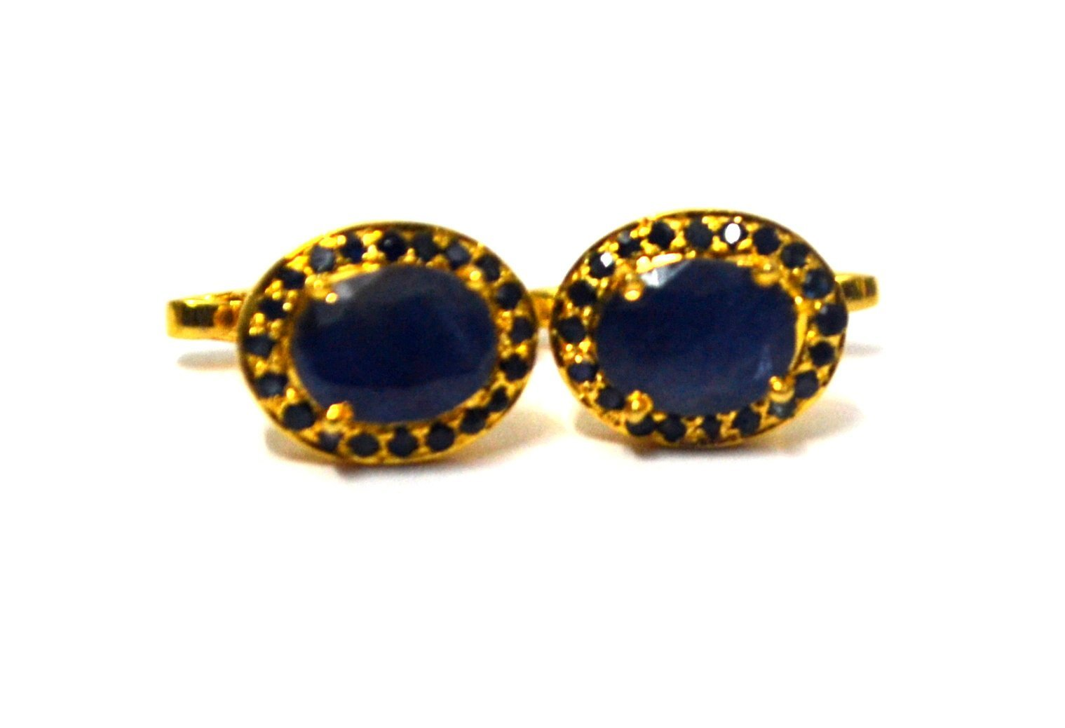 925 Sterling Silver Natural Fine Quality Blue Sapphire Gemstone Gold Plated Arti