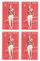1963 8c Amelia Earhart Block of 4 US Airmail Stamps Catalog Number C68 MNH