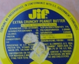 Vintage Jif Extra Crunchy Peanut Butter Jar with Lid