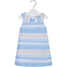 Mayoral Little Girls 2T-9 Light Blue Sheer Jacquard Stripe Social Party Dress