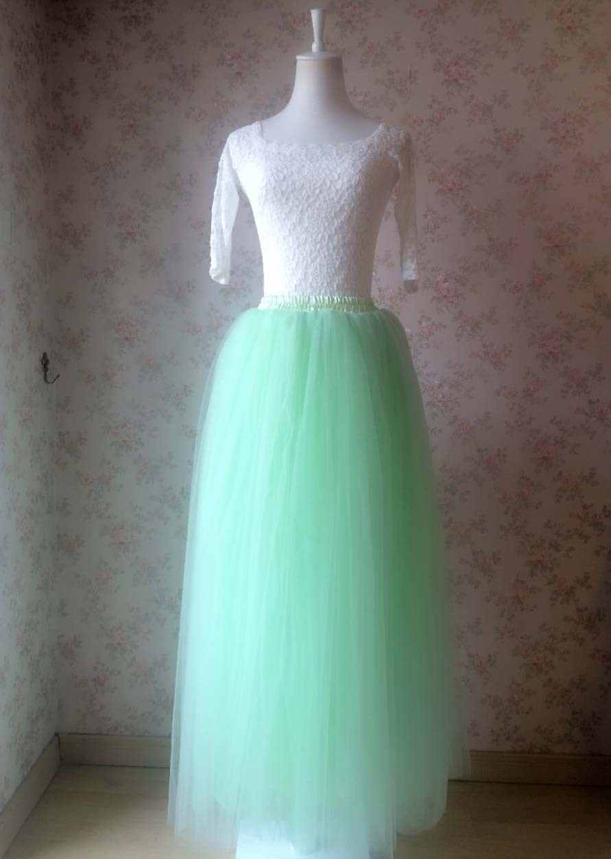 Mint Green Long Tulle Skirt 4 Layered Adult Tutu Plus Size Long Tulle Skirt