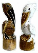Hand Carved Nautical Wooden Set of 2 Pelican Statues Brown and White Art - $29.64