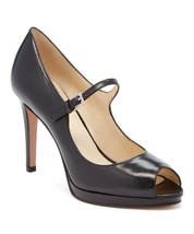 Nine West Women's Emergencee Peep Toe Black Leather Pump Size 9.5 - $34.65