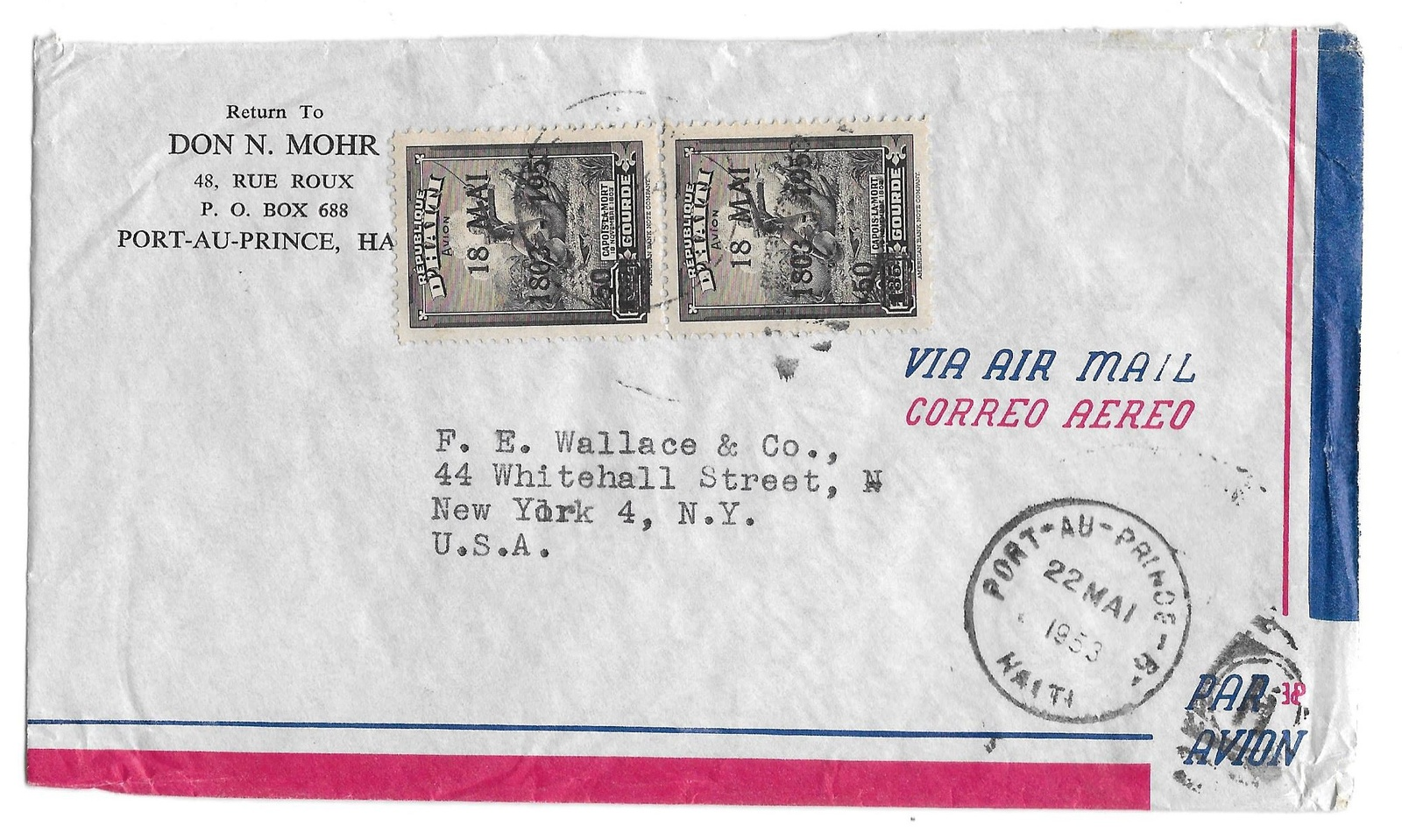 Primary image for Haiti Airmail Cover to NY USA Sc C61 Mai 18 1953 Overprint Corner Card Don Mohr