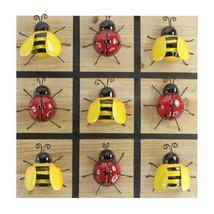 "13"" Tic Tac Toe Ladybug Bumblebee Metal & Wood Board Game Red Yellow Garden"