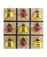 "13"" Tic Tac Toe Ladybug Bumblebee Metal & Wood Board Game Red Yellow Garden - $49.49"
