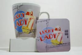 Lucky Lady Vintage War Plane Classic Pinup Metallic Latte Mug & Coaster Set - $11.31