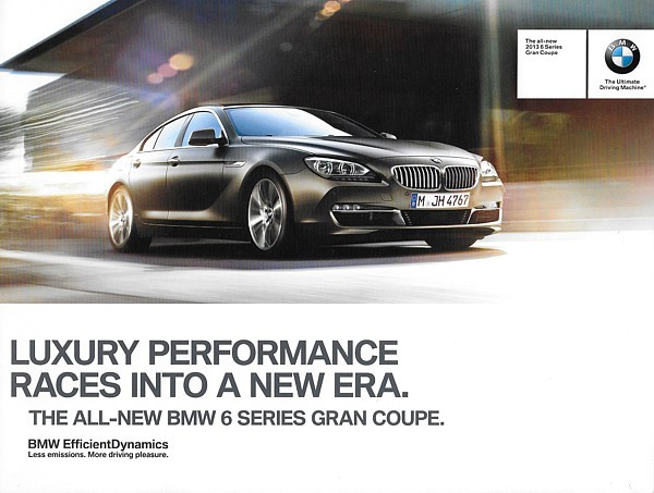 Primary image for 2013 BMW 6-SERIES GRAN COUPE sales brochure catalog folder 13 US 640i
