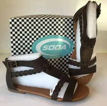 NEW Soda Laicigo Gladiator BROWN Sandals - US Size 7 - Braided Open Toe Strappy - $23.70