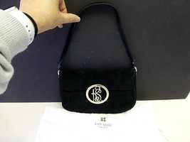 Kate Spade Black Suede Leather Classic Flap Shoulder Bag Gold KS w Dust Bag - $39.99