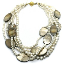 18K YELLOW GOLD 5 WIRES MULTI STRAND NECKLACE OVAL MOTHER OF PEARL, WHITE PEARLS image 1