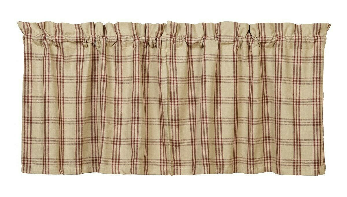 Primary image for country primitive cabin farmhouse Cottonwood Red & tan plaid TIERS curtains