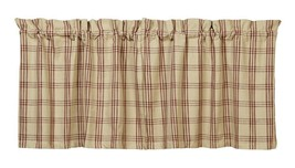 country primitive cabin farmhouse Cottonwood Red & tan plaid TIERS curtains - $34.95+