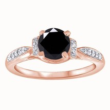 1.25 Ct Round Cut Diamond Solitaire W/Accents Engagement Ring 10k Rose G... - $77.80