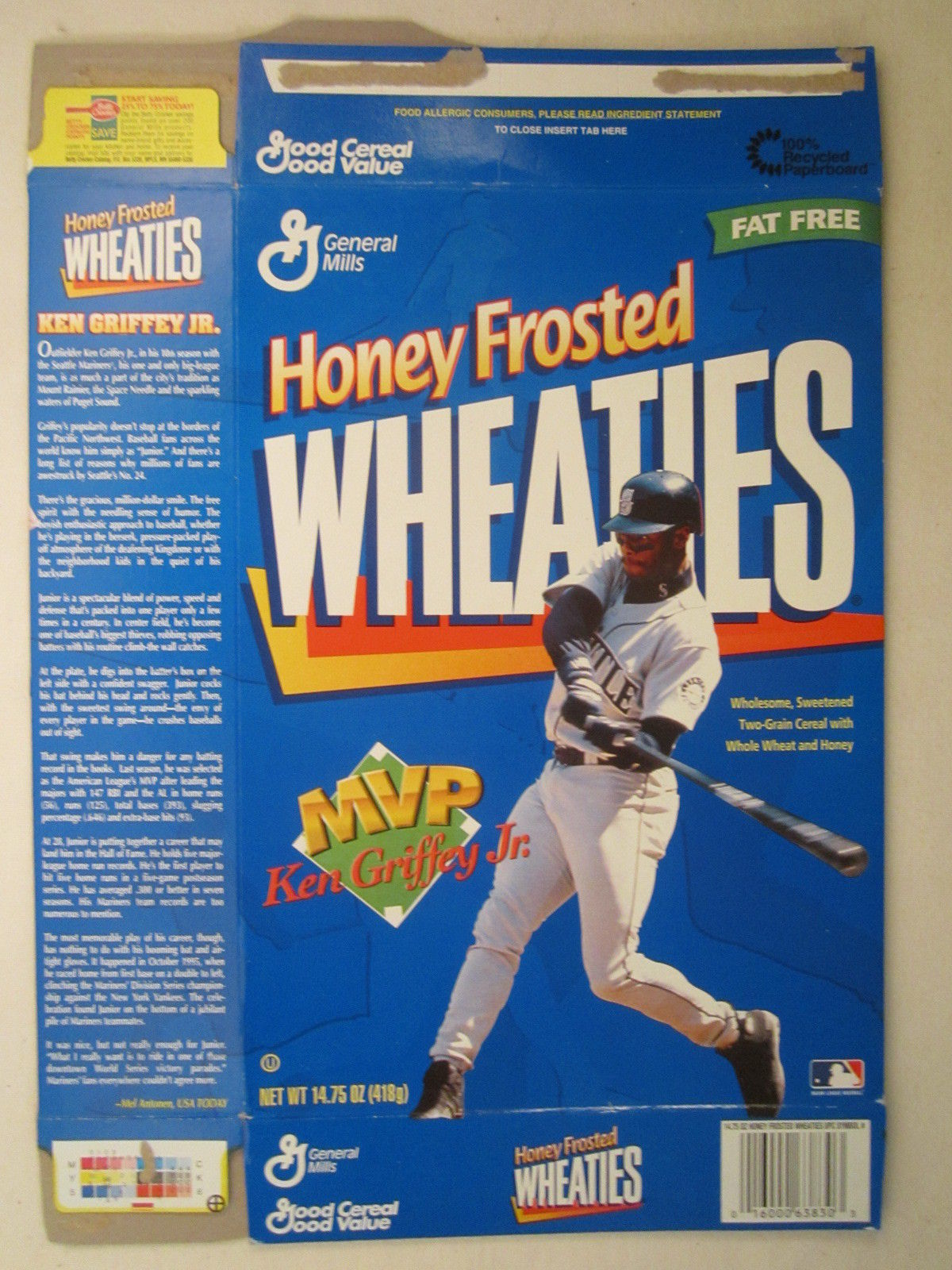 Primary image for Empty WHEATIES Box 1998 14.75oz KEN GRIFFEY JR MVP [Z202f6]