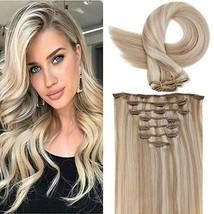 LaaVoo Beauty Full Head Clip in Hair Extensions Remy Human Hair Clip Human Hair