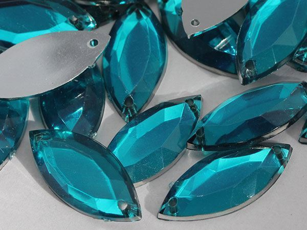 20x9mm Blue Aqua CH24 Navette Flat Back Sew On Gems For Craft 50 PCS