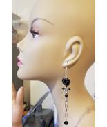 black rose cross earrings very long chain dangles handmade religious got... - $5.99