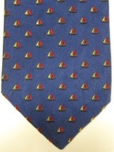 GORGEOUS Brooks Brothers Dark Blue With Red and Gold Sailboats Tie - $22.49