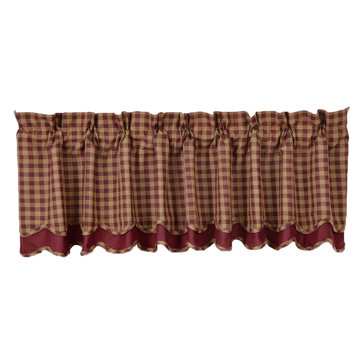 BURGUNDY CHECK Scalloped Valance Layered Lined- 16x72 - Burgundy/Tan -VHC Brands