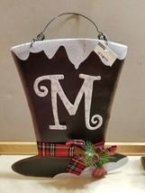 NEW Metal Snowman Hat Monogram 'M' Christmas Winter Wall Decor w/ Hanger... - $9.99
