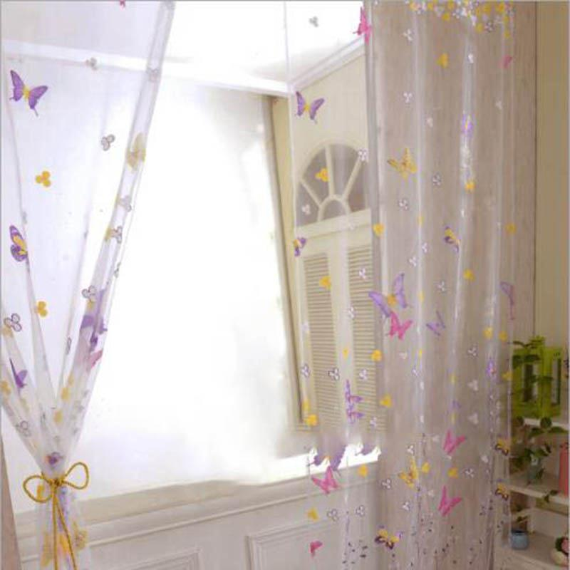 100-200cm-Colorful-Butterfly-Floral-Tulle-Window-Curtain-For-Living-Room-Bedroom