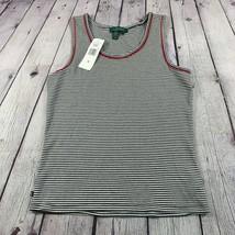 NWT Ralph Lauren Women's Tank 'Antique IV' Striped Navy White Red Size S - $26.11