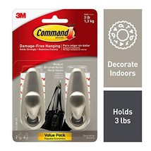 Command Brushed Nickel Forever Classic Metal Hook, Holds 3 lbs, Decorate... - $18.40