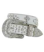 50121 Western Cowgirl Studded Crystal Rhinestone Cross White Leather Bel... - $32.95