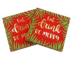 20pcs/lot Eat, Drink and be Merry Christmas Paper Napkins, XMAS Party Ta... - $16.66